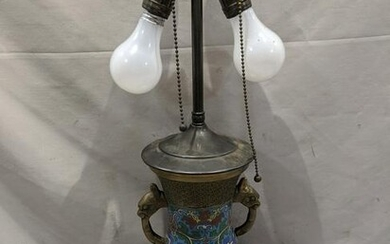 Antique Chinese Brass & Cloisonné Table Lamp