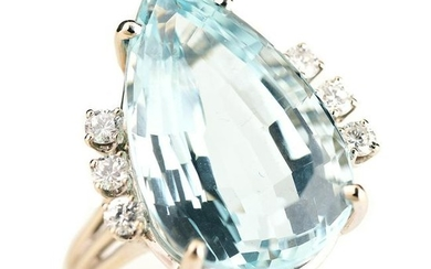 Aquamarine, Diamond, 14k White Gold Ring.