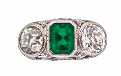 Art Deco Platinum, Emerald, and Diamond Ring