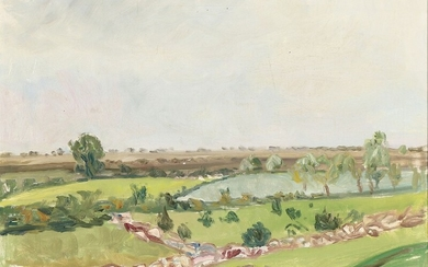 Axel P. Jensen: Landscape. Signed Axel P. J. Oil on canvas. 49×66 cm.