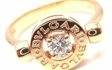 BULGARI BVLGARI 18k Rose Gold Diamond Flip Ring Size 6