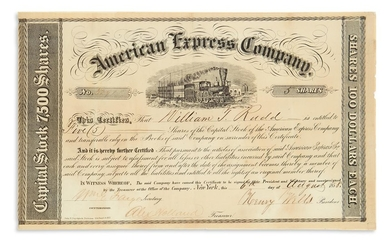"(BUSINESS.) WELLS, HENRY; AND WILLIAM GEORGE FARGO. Partly printed Document Signed, by both (""Henry Wells,"" as President, and ""WmG. Far"