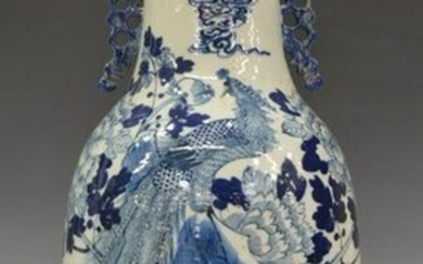 CHINESE BLUE & WHITE PORCELAIN PEACOCK FLORAL VASE