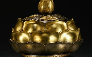 CHINESE GILT BRONZE LIDDED CENSER ON THE STAND