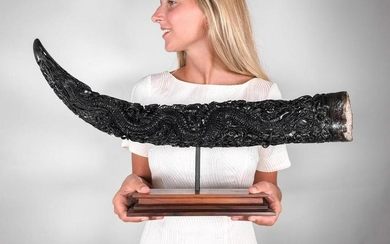 Carved Water Buffalo horn on custom stand - Double