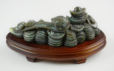 Chinese Carved Stone Ruyi Sculpture Chinese carved stone sculpture,...