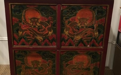 Chinese Hand Carved & Painted Dragon Cabinet