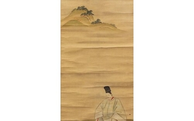 Chinese hand painted wall hanging scroll depicting two figur...