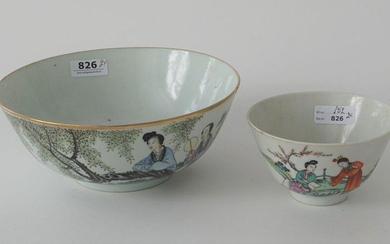Chinese porcelain bowl, painted with two elegant ladies in a landscape, hairline crack, 19th/20th century, diam. 18,5 cm + Chinese porcelain bowl, Ladies in a landscape, 19th/20th century, diam. 11 cm,chips foot rim (2x)