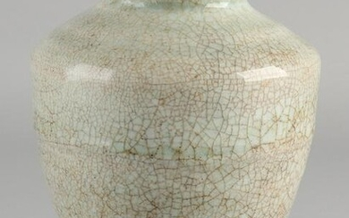 Chinese porcelain celadon vase with gray-green crackle