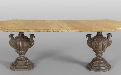Coffee table with wooden top and feet formed by two carved and gilded wooden vases