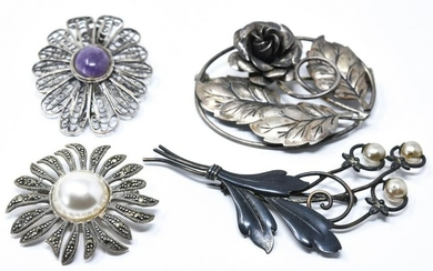 Collection Vintage Sterling & Silver Brooch Pins