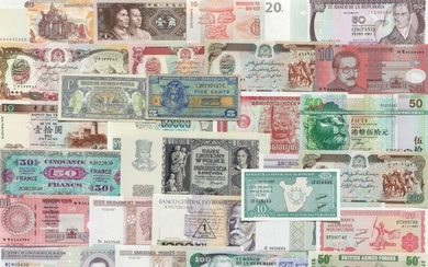 Collection of banknotes from all over the world, in total 115 pcs of which the main part in uncirculated condition and incl. some better notes