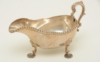 Colonial American coin silver sauceboat by J.B, c.1810.