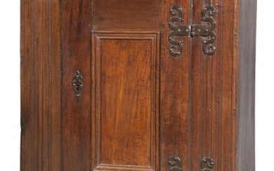 Continental Oak and Iron-Mounted Cupboard Possibly Flemish, 17th Century and later The rectangular top with molded corni...