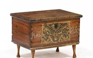 Continental Paint Decorated Diminutive Dower Chest