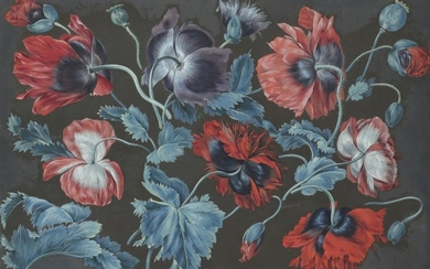 Continental School 19th Century Study of poppies Gouache...