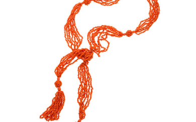 Coral Necklace The scarf necklace is composed of carved...