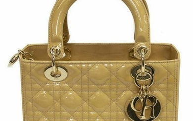 DIOR 'LADY DIOR' QUILTED PATENT LEATHER HANDBAG