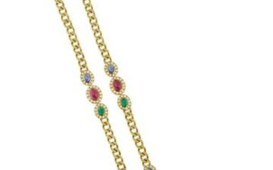 Diamond, Emerald, Sapphire and Ruby Necklace