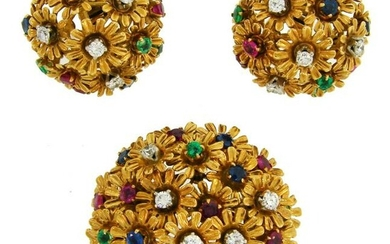 Diamond Gems Yellow Gold Earrings and Pin Brooch Clip