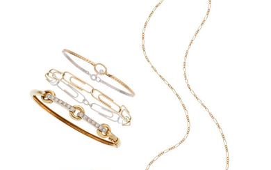 Diamond, Gold Jewelry Lot The lot consists of a...