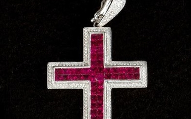 Diamond, ruby cross, rubies in invisible setting, about...