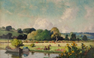EDWARD HARTLEY MOONEY (1878-1938 OIL ON RE-LINED CANVAS Rive...