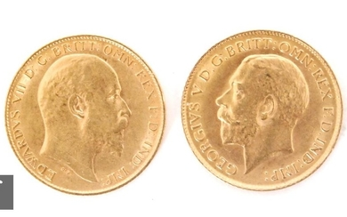 Edward VII to George V - A half sovereign dated 1909 and exa...