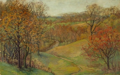 Elizabeth Fisher Washington (American, 1871–1953) Autumn Scene Signed bottom...