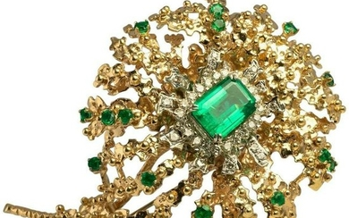 Emerald Diamond Brooch Pendant Pin 14k Yellow Gold