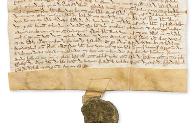 Essex.- Charter, I, William de Watevile grant to John de Valla and Alice his wife a tenement in the village of Hamsted [Hempstead], manuscript in Latin, on vellum, large remains of a wax seal depicting a knight, [c. 1260].