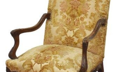FRENCH LOUIS XV STYLE CARVED HIGHBACK FAUTEUIL