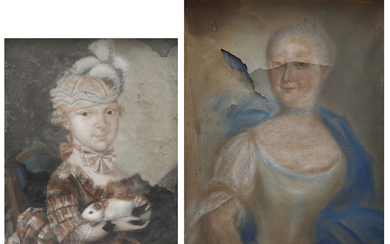 FRENCH SCHOOL, 18TH CENTURY. Portrait of a girl and Portrait of a little girl, probably one of the daughters of Paul d'Ortaffa.
