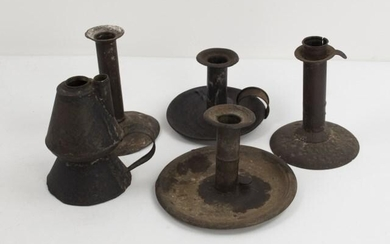 Five 19th C. Tin Candlesticks & Lamp; Hogscraper