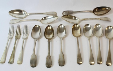 Four silver table spoons 1818, three dessert spoons 1843 and...