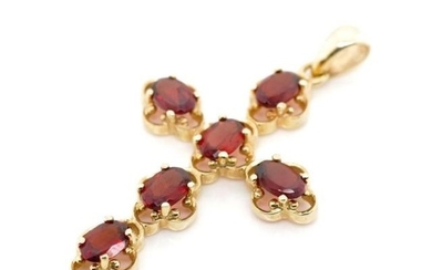 Garnet and 9ct yellow gold cross rubbed 9ct marks to bail. A...