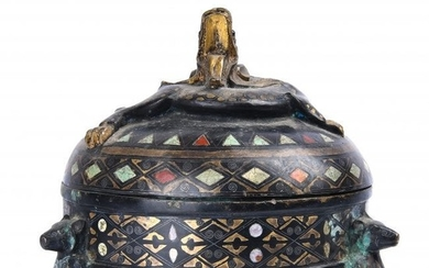 Gem Inlaid Bronze Dragon Covered Inkwell