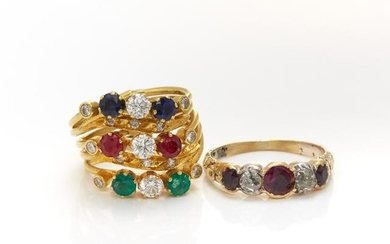 Gold, Gem-Set and Diamond Five Band Ring and Antique Gold, Ruby and Diamond Ring