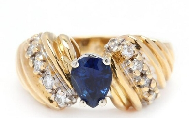 Gold , Sapphire, and Diamond Ring, signed