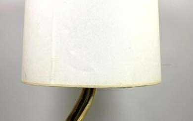 Gold Tone and Glass Table Lamp. Fontana Arte Style. Cur