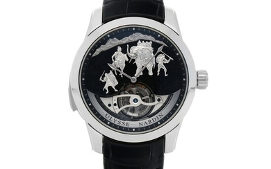 HANNIBAL, REF 789-00 LIMITED EDITION PLATINUM WESTMINSTER MINUTE REPEATING TOURBILLON WRISTWATCH WITH JAQUEMARTS, GRANITE DIAL AND MATCHING CUFFLINKS CIRCA 2015