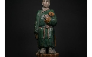 HUGE CHINESE MING DYNASTY ATTENDANT FIGURINE
