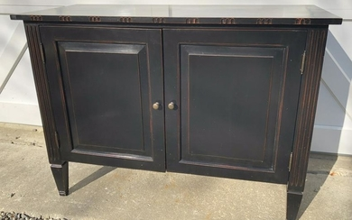 Hand Painted Ebony and Red Console