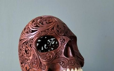 Hand carved Human skull - Traditional Hindu Carving