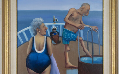 Helen Norton - 'The Atlantic Dip', oil on canvas, signed and dated '97 recto, titled