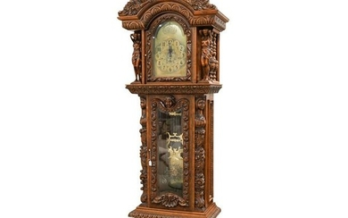 Hermle Carved Tall-Case Grandfather Clock