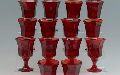INDEPENDENCE GLASS RED & AMBERINA WATER GOBLETS