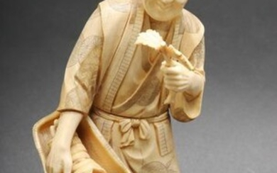 "Japanese Carved Bone ""Man with Plants"" Sculpture"
