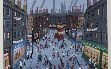John Ormsby - Shoppers in a Busy Street, late 20th/early 21st century oil on canvas possibly canvas